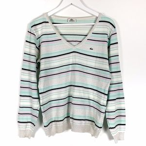 Lacoste Pastel Striped V Neck Knit Sweater